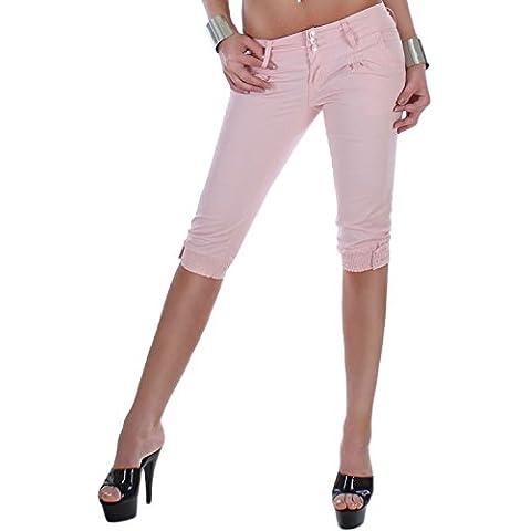 Pantaloni da donna Capri pantaloni con dettaglio strass in gomma in vita con bottoni inferiore pastell suoni in 7 colori 34 XS - 42 XL
