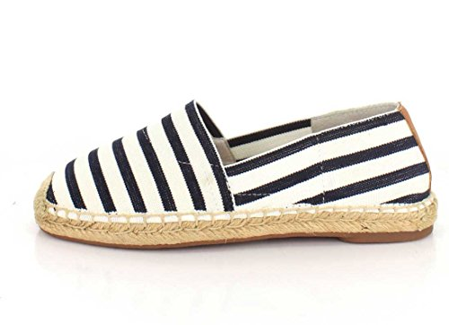 Vionic Women's Valeri Espadrille Flat Navy/Cloud Dancer Stripe
