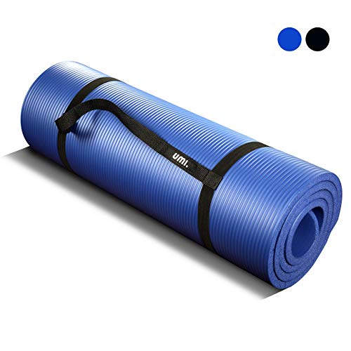 umi. essentials tappetino fitness per pilates extra spesso perfect for yoga pilates abdominals and stretching 180 x 61 x 1.5 cm (blu)