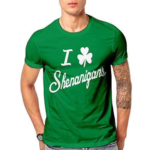 Preisvergleich Produktbild QinMM Mens Tops Summer,  3D Print Lässige Kleidung St. Patrick's Day Kurzarm-Shirt Bluse M-2XL