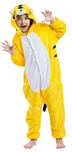 Pyjamas Kigurumi Jumpsuit Onesie Mädchen Junge Kinder Tier Karton Halloween Kostüm Sleepsuit Overall Unisex Schlafanzug Winter, Gelb Tiger