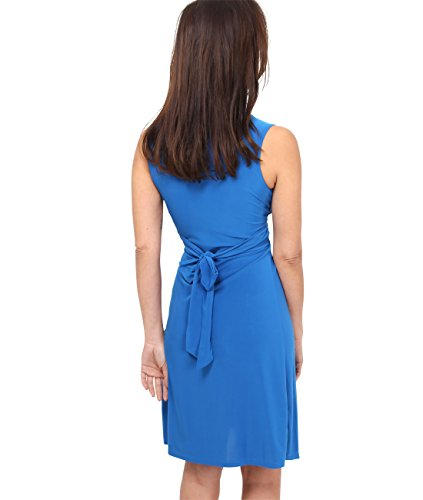 KRISP® donne Plain nodo anteriore Slinky Abito senza maniche Jersey Estate Blu reale