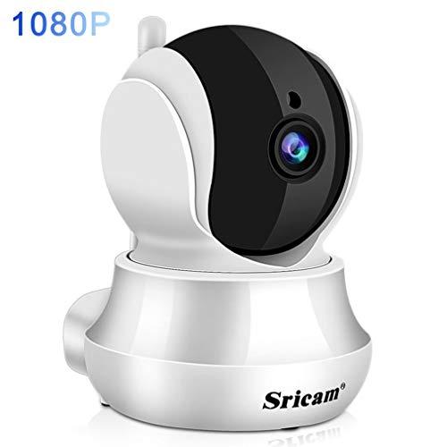 Sricam Wlan Babyphone Kamera 1080P Wifi Überwachungskamera mit Nachtsicht, Bewegungserkennung, 355 Grad Schwenkbar, Zwei Wege Audio, Unterstützt Fernalarm und Mobile App Kontrolle -