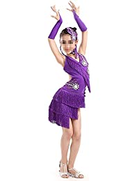 a8987ca1f5010 Trajes de vestir de baile de tango Vestido de salsa de rumba latina con  borla doble