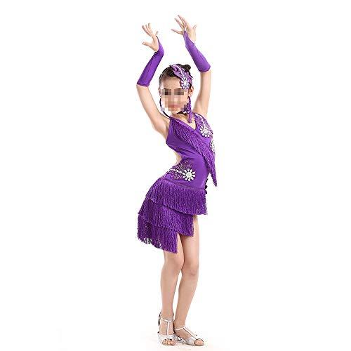 Zhangcaiyun Tango Tanzkleid Outfits Mädchen Funkelnde Pailletten Doppel Quaste Tanzen lateinischen Rumba Salsa Kleid Flapper Kleid Kostüm (Farbe : Lila, Größe : 120cm)