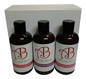 Sensual & Erotic Massage Oil Gift Set (3 x 125ml) Lovers (Orange, Ylang Ylang & Black Pepper), Romance (Orange, Geranium & Ylang Ylang), Ylang & Patchouli Boxed in Luxury White Gift Box Ideal for Couples, Christmas, Valentines or Hen Night Gift from Aroma