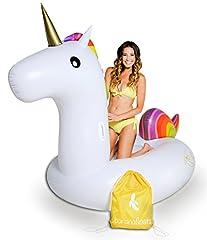 Idea Regalo - Unicorno gonfiabile gigante cavalcabile galleggiante - Unicorno Gigante Galleggiante per Festa in Piscina, Giocattolo Galleggiante Gonfiabile Canotto Galleggiante per Bambini e Adulti, con delle valvole rapidi speciali by BananaFloats