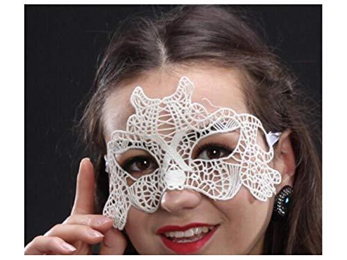 FERFERFERWON Partydekorationen Sexy Elegante Tiger Lace Ausschnitt Maske venezianische Maskerade Maske für Halloween-Party (weiß) Requisiten