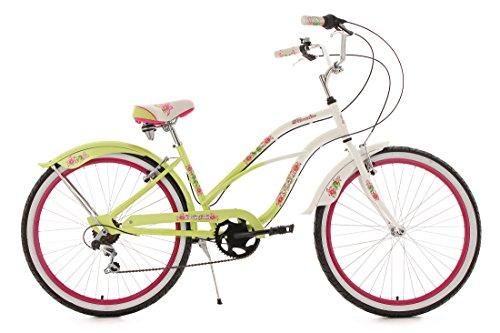 KS Cycling Damen Fahrrad Beachcruiser 26 Zoll Paradiso 6 Gänge RH 42 cm, LindGrün, 26, 750B