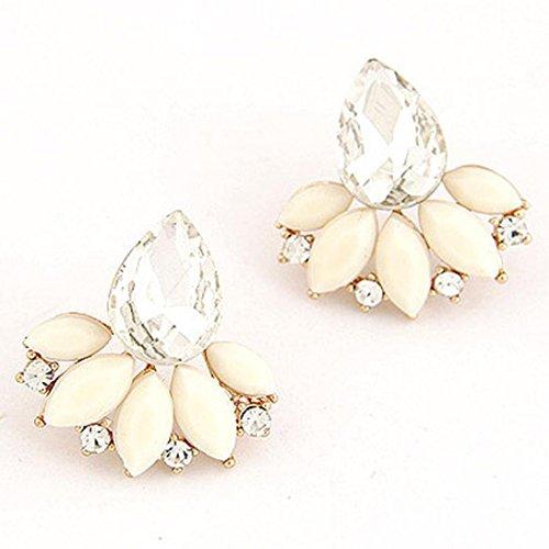 Ohrschmuck Schmuck Ohrringe Damen Elegant ZIYOU Damen Mode OL Leuchtenden Edelstein Verlässt Ohrringe (Beige)