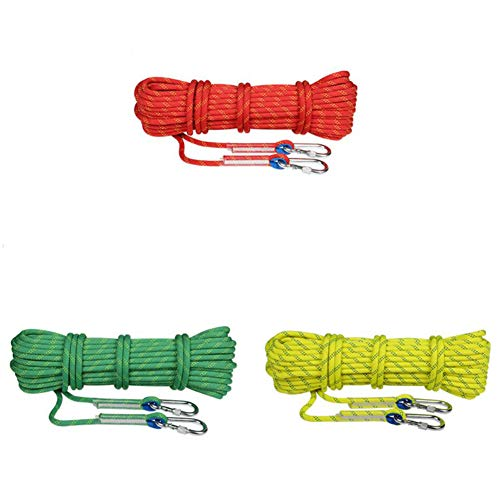 WYX Corde d'escalade Corde d'escalade résistant à l'usure, 10.5mm 10-100Meters Sécurité extérieure Rock Escalade Sport Sling Sling équipement de Corde de Rappel avec 2 Crochets en Plein air