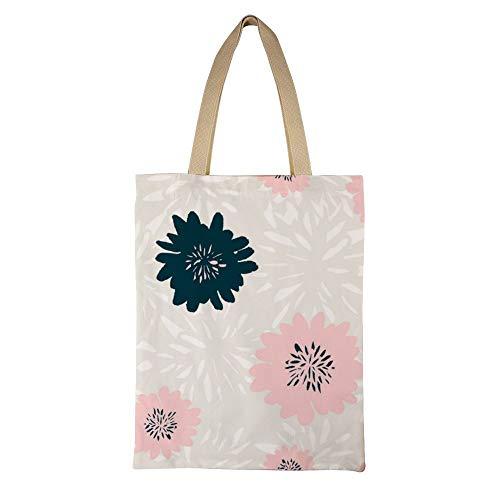 DKISEE Abstract Floral Pattern Reusable Canvas Tote Handbag Eco-Friendly Printed Tote Bag Large Casual Shoulder Bag Shopping Bag