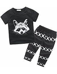1PC T-Shirt + 1PC pantalons vêtements ensemble pour garçon 0-24 mois,  Transer Bébé garçons raton laveur imprimé… 4d68a69ef801