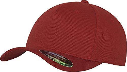Flexfit 5 Panel Baseball Cap - Unisex Mütze, Kappe für Herren und Damen, einfarbige Basecap, rundum geschlossen - Farbe red, Größe L/XL