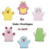 6X Waschlappen Waschhandschuh Kinder Baby Tiere Bad Dusche Pflege Katze Frosch