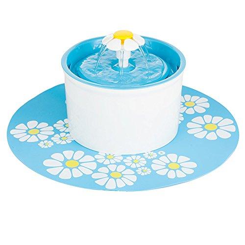 Pawsfiesta 1.6 L Blumen-Art-automatischer elektrischer Haustier-Wasser-Brunnen-Hund / Katze-trinkende Schüssel mit Blumen-Matte (Blue) (Fließendes Wasser Katze Schüssel)