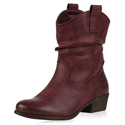 napoli-fashion , Bottes Western femme rouge foncé