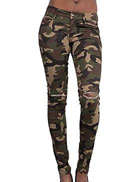 La Mujer Está Angustiada Ripped Casual Pantalones Camuflaje Pantalones Skinny