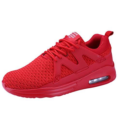 Jiameng scarpe da uomo sneakers casual sportive high-top, scarpe sneaker bianche, scarpe piatte comode (rosso,eu 41)