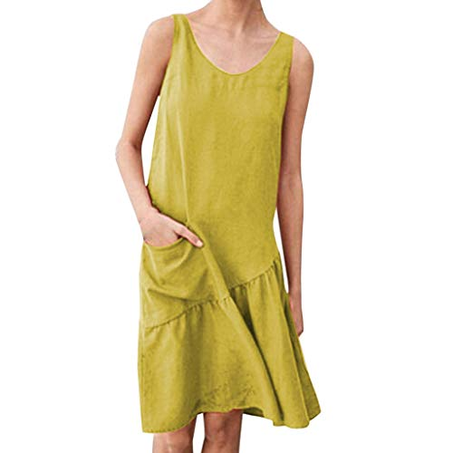 Women Summer Solid Pockets Pleated O Neck Sleeveless Casual Knee-Length Dresses, Spring ()