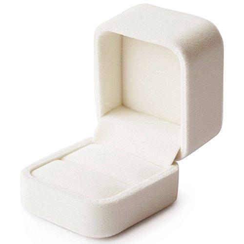 DEMIATI Ringbox Ringschachtel Premium Samt Schmuckkästchen elfenbein Ringschachtel - romantische Geschenkbox - perfekt für Hochzeit / Valentinstag / Verlobungsring