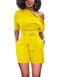 FeelinGirl Femme Combishort Combinaison Pantalon Courte Manches de Plage Été Jumpsuits avec Poche Une Epaule Dénudées avec Ceinture Taille Haute S-XXL