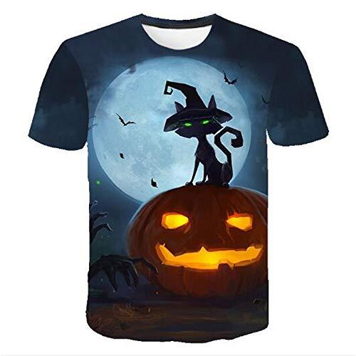 Herren Neuheit T-Shirt 2019 Sommer Casual Kurzarm 3D Digital Gedruckt T Shirt Tops Premium,3D Halloween Kürbis Blau 2XL