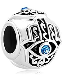 Abalorio para pulseras para la buena suerte de Uniqueen - diseño de la Mano de Fátima con ojo de cristal azul