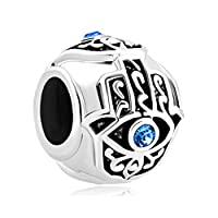 Uniqueen Good Luck Charms Blue Crystal Rhinestone Evil Eye Islamic Hand of Hamsa Charm Beads Fit Bracelets Gifts (Sterling Silver)