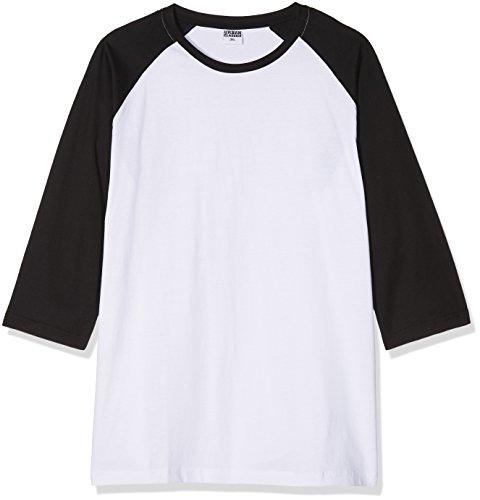 Urban Classics Herren Contrast 3/4 Sleeve Raglan Tee T-Shirt, wht/blk, 5XL -
