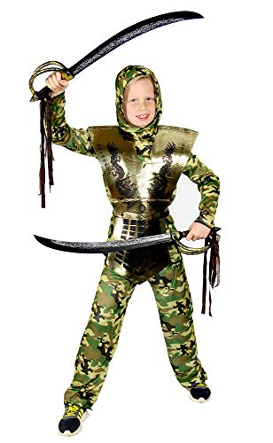 Foxxeo Camouflage goldenes Ninja Kostüm für für Jungen schwarzes Ninjakostüm grün Kinderkostüm Größe 122-128