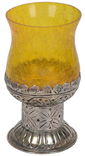 Artefacts Glass Candle Holder (16 cm x 9 cm x 16 cm, Silver & Yellow)