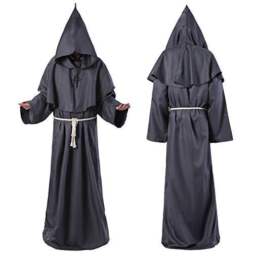 AEDFD Mittelalterliches Mönch Kostüm Mönch Zauberer Pastor Christian Halloween Kostüm,Grey-XL (Christian Grey Kostüm)