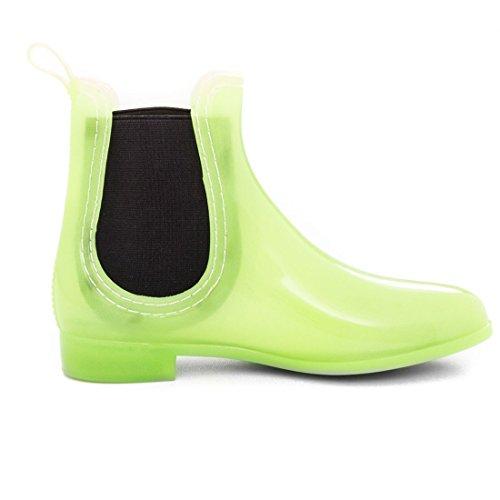Damen Schlupf Gummistiefel Chelsea Boots Lack Stiefeletten Modell 4: Gelbgrün
