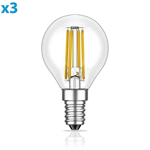 Frost Klar Weiße Form (ledscom.de E14 LED Birne Filament G45 3,4W =32W warm-weiß 350lm A++ für innen und außen, 3 STK.)