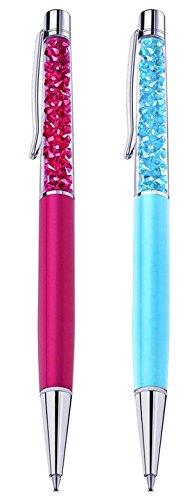 Qualität Kugelschreiber mit Swarovski-Kristallen, inklusive 2 Minen und 2 Stifttasche - Ich bin UK Verkäufer - SET VON 2: FUCHSIA, HELLBLAU