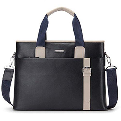 BINSON DENIM Herren Leder Aktentasche Herren Handtaschen Herren Umhängetasche Herren Laptop Tasche Hohe Qualität N2267 (Schwarz) Blau
