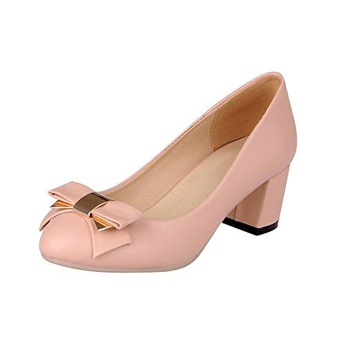 VogueZone009 Femme Rond à Talon Correct Matière Souple Couleur Unie Tire Chaussures Légeres Rose