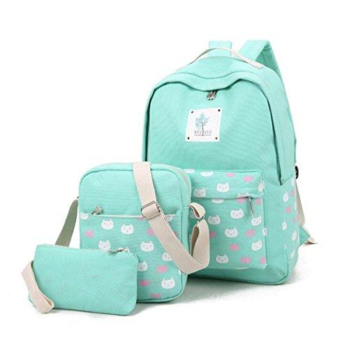 Canvas Schulrucksack, Gracosy 3 Teile Set Damen Rucksack + Umhängetasche/Schul Schulranzen + Mäppchen/Purse für Jugendliche Mädchen Schule Grün