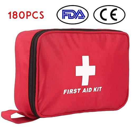 Botiquín de Primeros Auxilios de 180 Piezas WEINAS Kit de Primeros Auxilios Súper Compacto y Profesional para Hogar, Oficina, Deportes, Senderismo, Supervivencia,...
