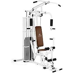 Klarfit Ultimate Gym 3000 - Multiestación de musculación, Entrenamiento Profesional, Múltiples Ejercicios para Hombros, Pecho, Brazos, piernas y Espalda, Pesos Ajustables y Poleas, Blanco