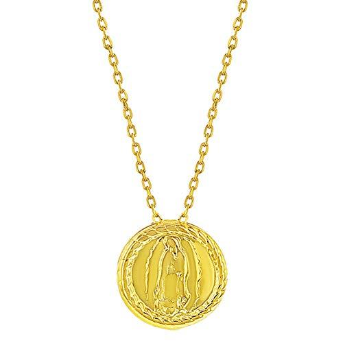 Collar con medalla pequeña de plata de ley 925, chapado en oro
