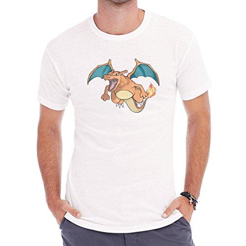 Pokemon Charizard Dragon Fire Flying Front Herren T-Shirt Weiß