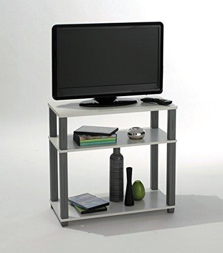 Mesa de TV mueble multimedia. Blanca y gris. Para salón comedor o habitación, mesa auxiliar.