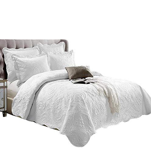 Supreme Bettwäsche Tröster Set Quilt Bestickte Bettwäsche Set, 3 Stück Tagesdecke mit 2 Kissenbezüge:, Polybaumwolle, Weiß, Double (220 x 230 cm) (Bestickte Bettwäsche Tröster)