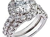 1.90Corte de diamante redondo redondo solitario conjunto de anillos de compromiso Anillos de oro blanco de 18 quilates de mujer real sólido Reino Unido Oferta