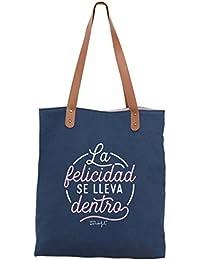 Mr. Wonderful La Felicidad Se Lleva Dentro Bolsa de Tela y de Playa, 44 cm, Azul Marino