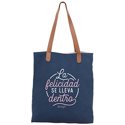 Mr. Wonderful La Felicidad Se Lleva Dentro Bolsa de Tela y de Playa, 44 cm, Azul Marino