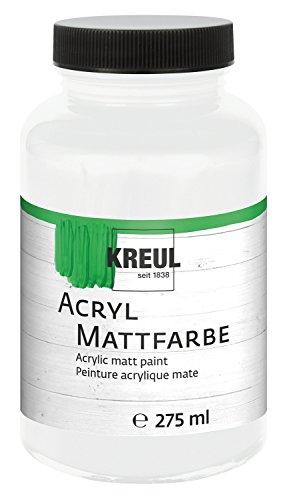 Kreul 75001 - Acryl Mattfarbe, für groß Anmalprojekte wie Tische, Stühle, Kommoden und Holzschränke, cremig deckende, schnelltrocknende Farbe auf Wasserbasis, 275 ml Kunststoffglas, weiß -
