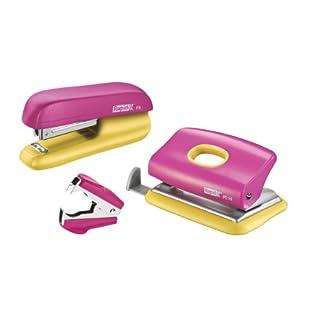 Rapid 5000371 Set heftgerät (F5 und LoFC10 plus Entklammerer C2 SB) rosa/gelb